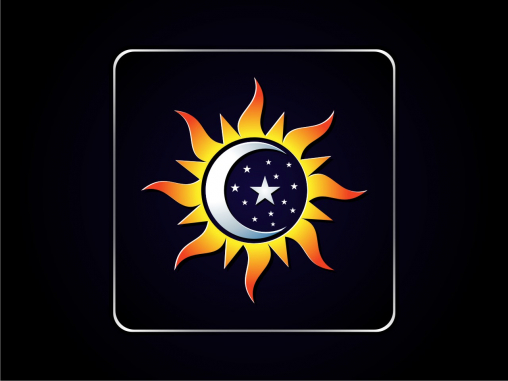 Application Icon Design by Sun, stars, moon